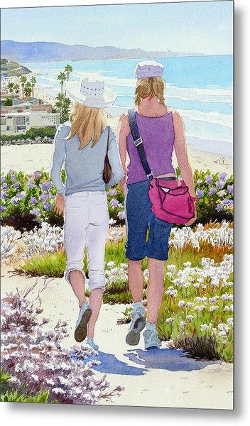 Two Girls At Dog Beach Del Mar Metal Print