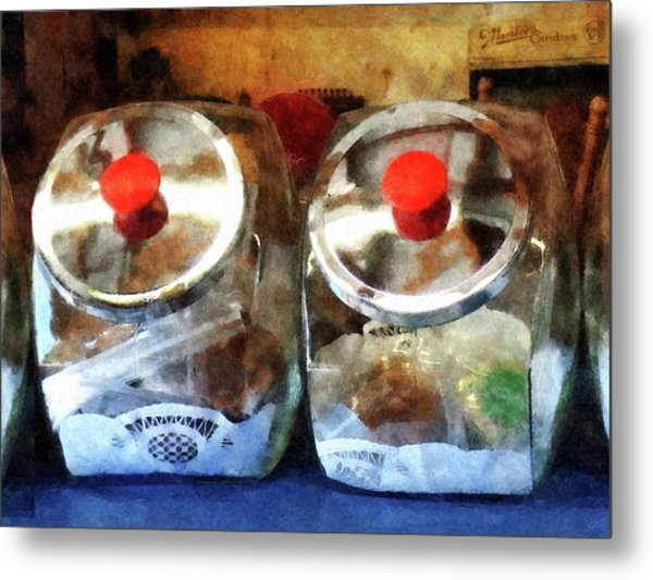 Two Glass Cookie Jars Metal Print