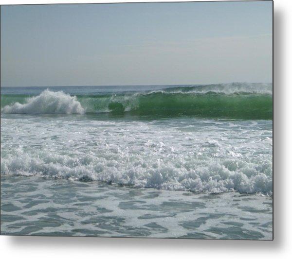 Two Green Waves Metal Print