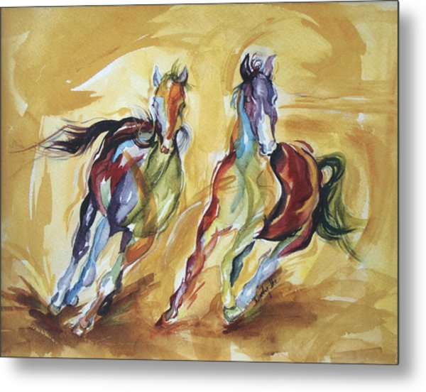 Two Horses Running Painting by Wendy Ike