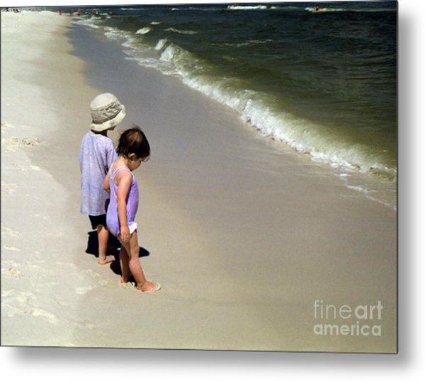 Two Kids At The Beach Metal Print