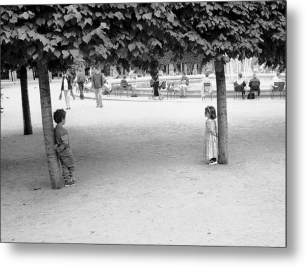 Two Kids In Paris Metal Print