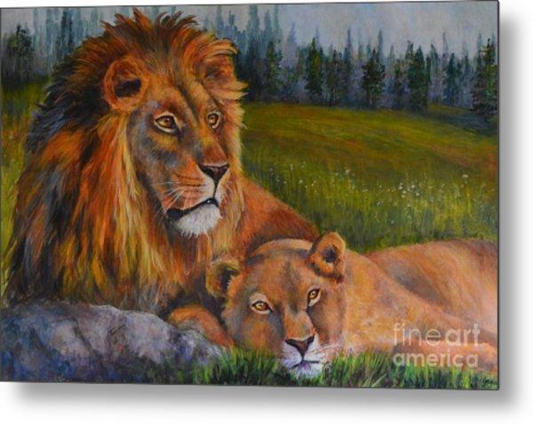 Two Lions Metal Print by Jana Baker