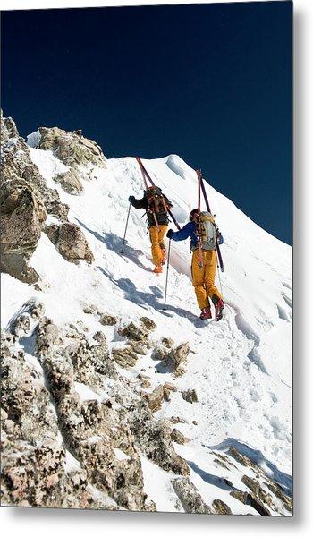 Two Men Backcountry Skiing Hike Metal Print