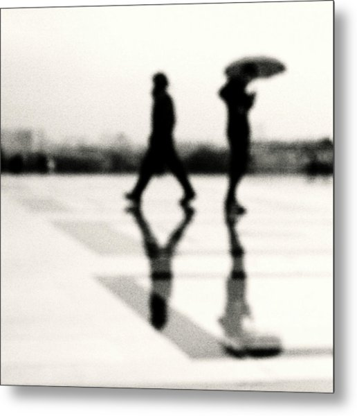 Two Men In Rain With Their Reflections Metal Print