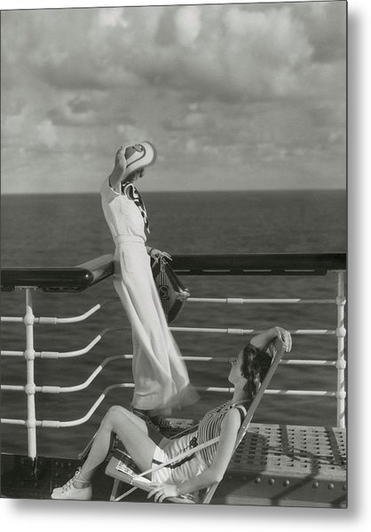 Two Models On The Deck Of A Cruise Ship Metal Print