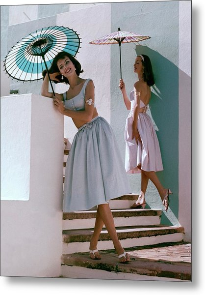 Two Models Posing With Parasols Metal Print by Frances Mclaughlin-Gill