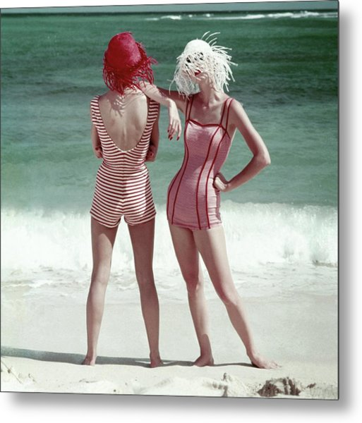 Two Models Standing On A Beach Metal Print by Frances McLaughlin-Gill
