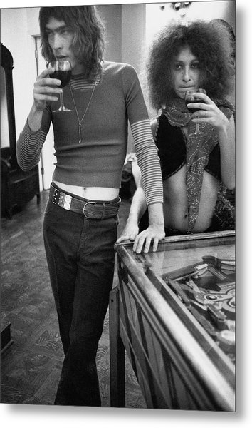 Two Models Wearing 1970s Style Clothing Metal Print