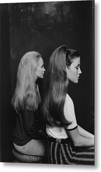 Two Models Wearing Hairpieces Metal Print