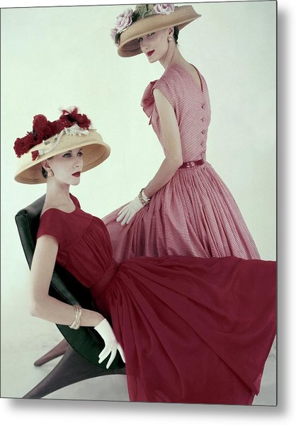 Two Models Wearing Red Dresses Metal Print