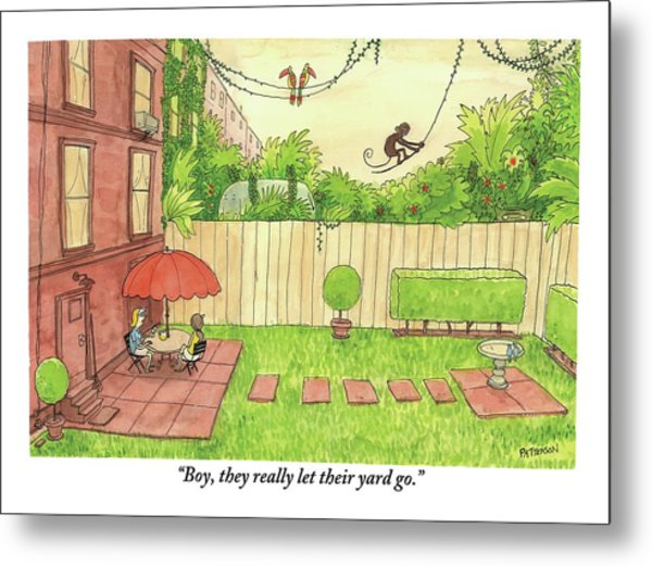 Two People Sitting On Their Back Patio Metal Print