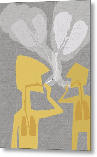 Two People Smoking Cigarettes Metal Print by Fanatic Studio / Science Photo Library