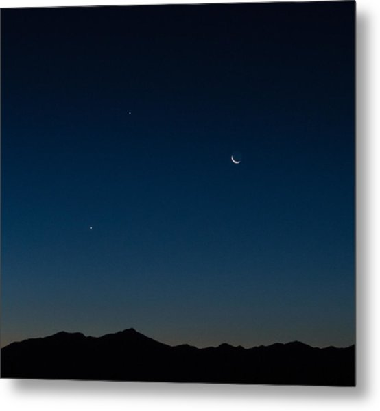 Two Planets And A Moon Metal Print