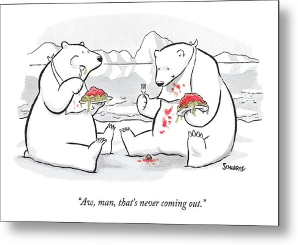 Two Polar Bears Eat Spaghetti And Meatballs.  One Metal Print