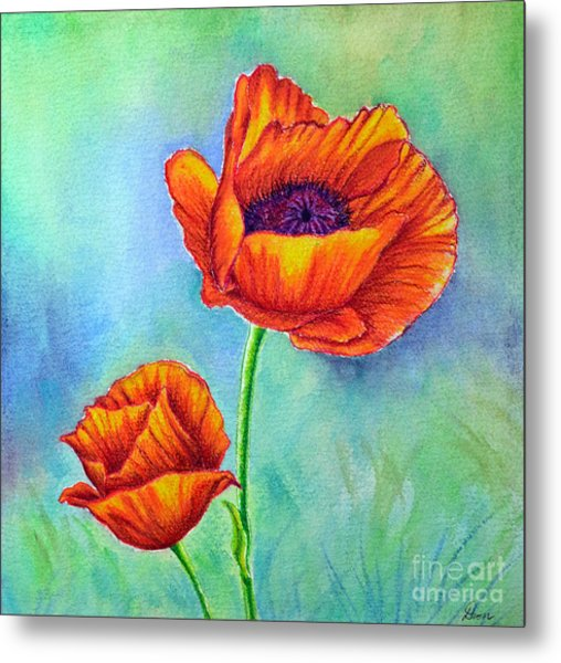 Two Poppies Metal Print by Dion Dior