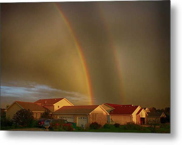 Two Rainbows Plus Two Pots Of Gold Metal Print
