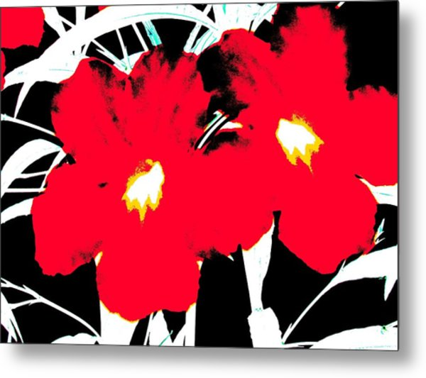 Metal Print featuring the photograph Two Red Jack Flowers by David Clark