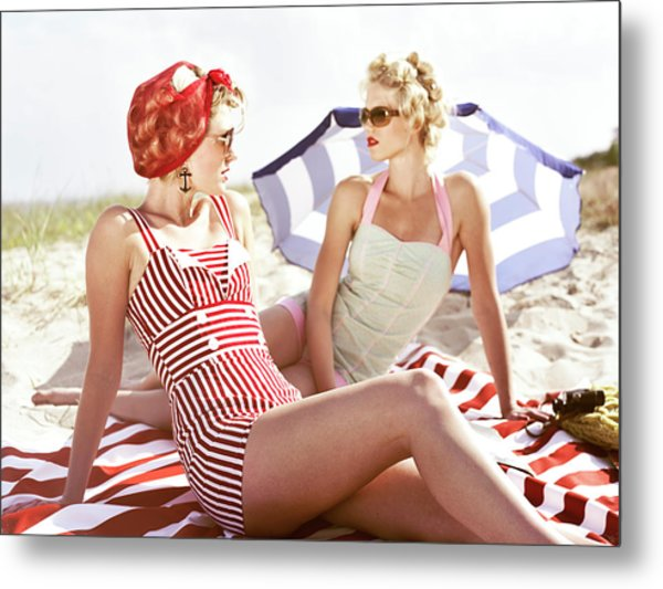 Two Retro Young Women On Beach Metal Print by Johner Images