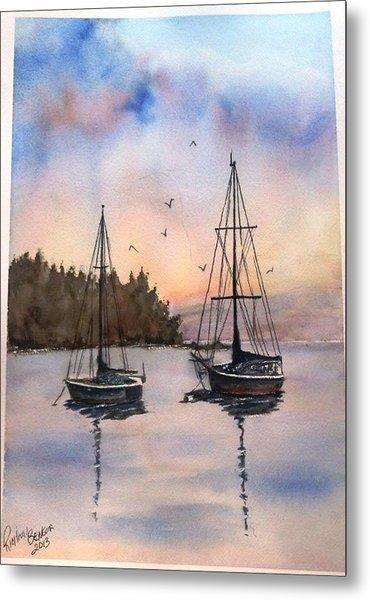 Two Sail Boats At Anchor Sold Metal Print