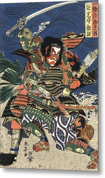 Two Samurai Fighting C. 1819 Metal Print
