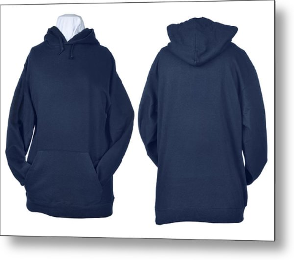 Two Side Of Wrinkled Blank Blue Shirts Metal Print by Pbombaert