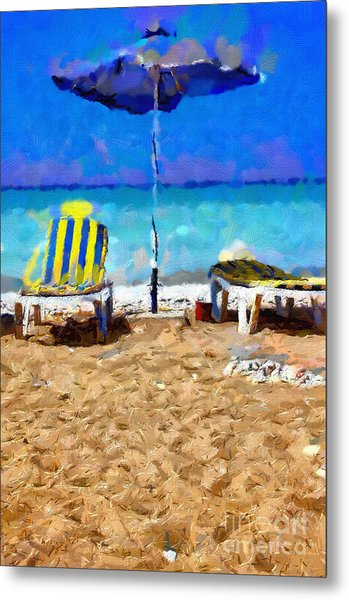 Two Sun-chairs And Umbrella Painting Metal Print by Magomed Magomedagaev