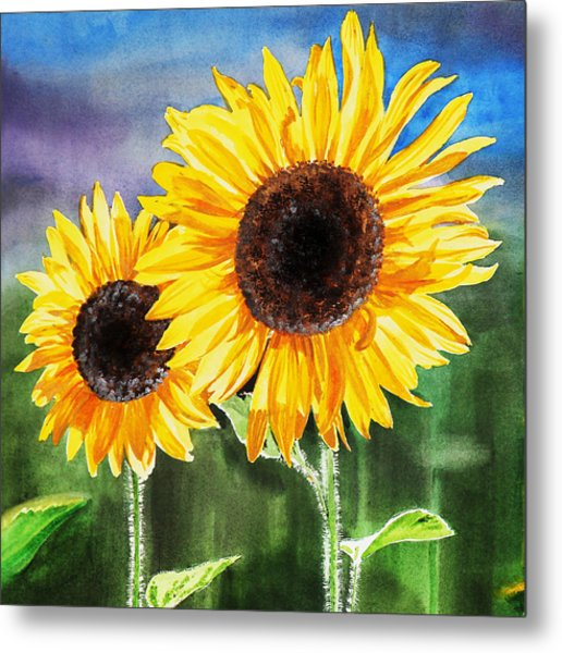 Two Sunflowers Metal Print