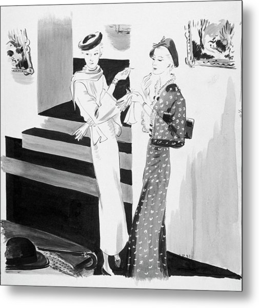 Two Women Applying Their Makeup Metal Print by Jean Pages