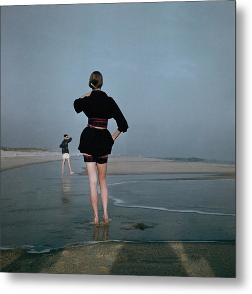 Two Women At A Beach Metal Print by Serge Balkin