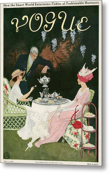 Two Women Drinking Tea Metal Print by Mrs. Newell Tilton