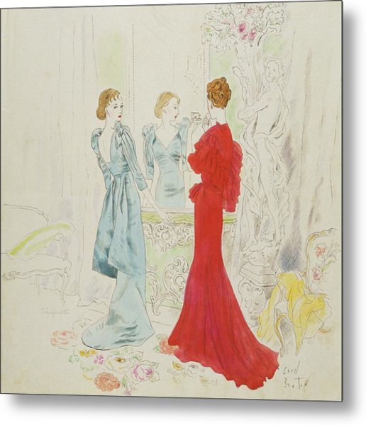 Two Women Getting Ready In Schiaparelli And Worth Metal Print by Cecil Beaton