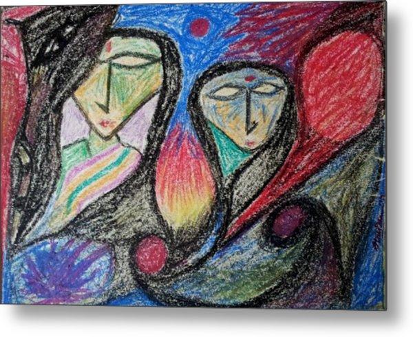 Two Women Metal Print by Hari Om Prakash