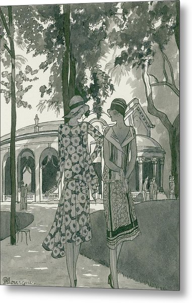 Two Women Walking In A Park Metal Print