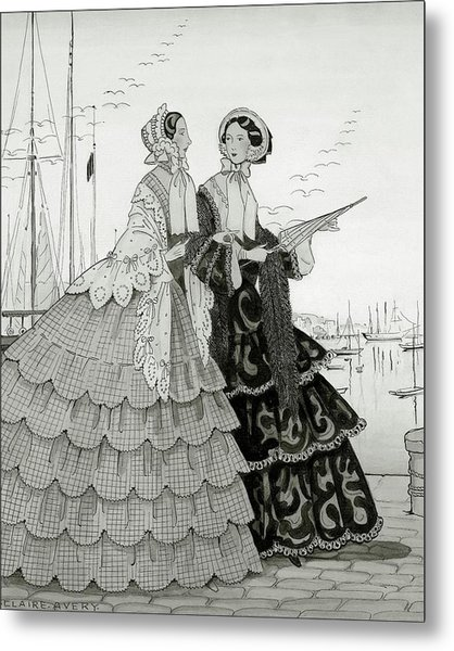 Two Women Wearing Large Dresses With Hoop Skirts Metal Print by Claire Avery
