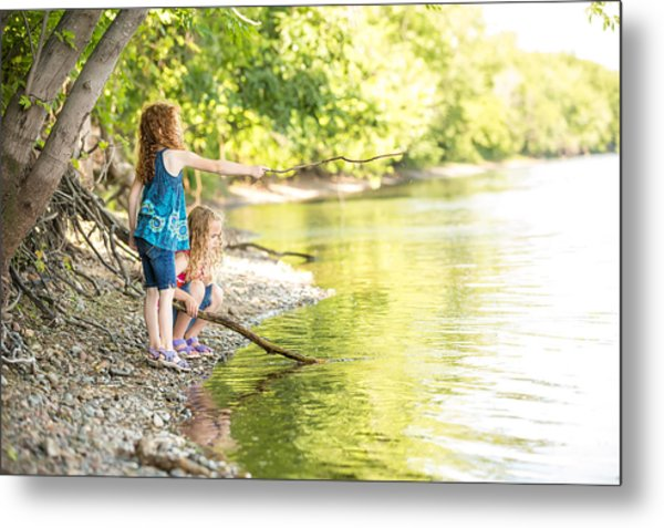 Two Young Girls Playing On Bank Of Mississippi River Metal Print by Emholk