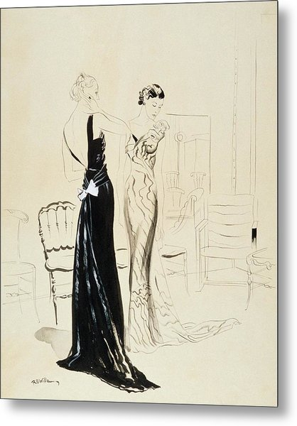 Two Young Women Wearing Schiaparelli Evening Metal Print by Rene Bouet-Willaumez
