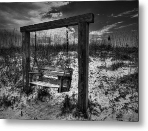 Tybee Island Swing 003 Bw Metal Print