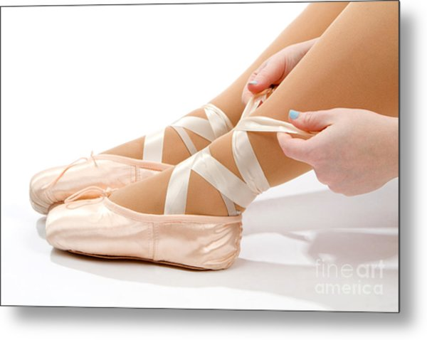 Tying Ballet Slippers Metal Print