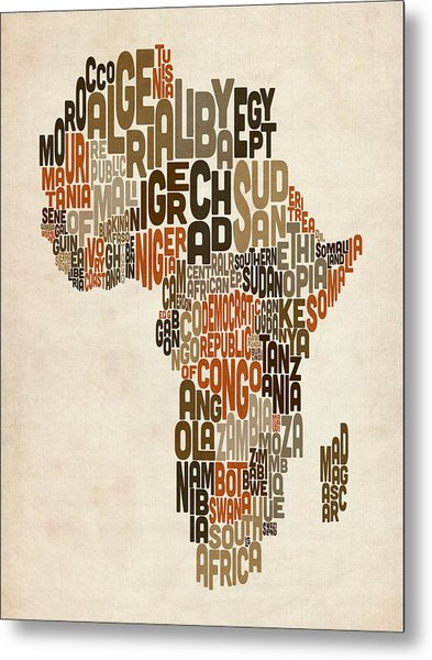 Typography Text Map Of Africa Metal Print