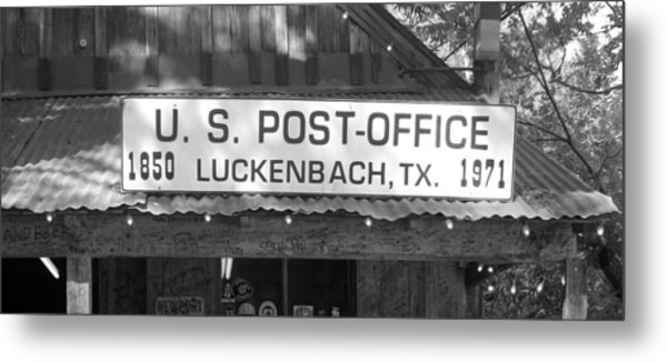 U S Post Office Luckenbach Texas Sign Bw Metal Print