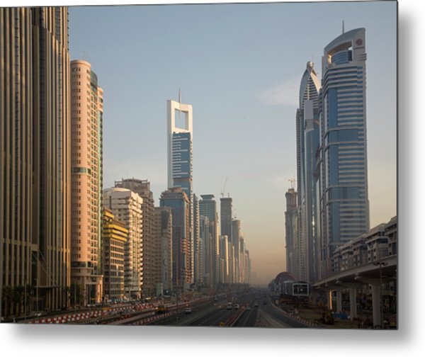 Uae, Dubai Towers Along Sheik Zayed Metal Print
