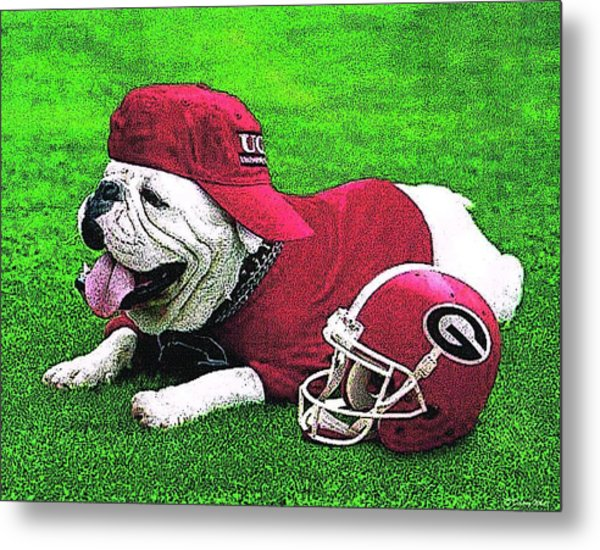 Uga With Helmet T-shirt Metal Print