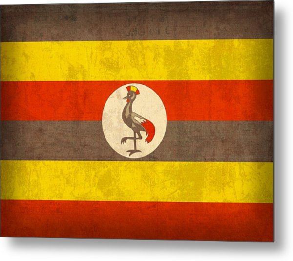Uganda Flag Vintage Distressed Finish Metal Print