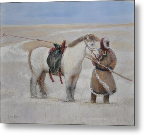 Ujumchin Herdsmen In Winter Pastures Metal Print