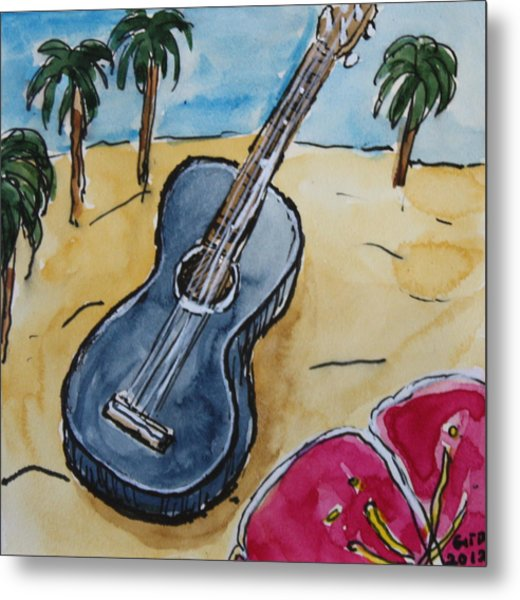 Ukulele At The Beach Metal Print