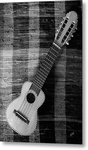 Ukulele Still Life In Black And White Metal Print