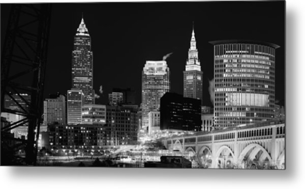 Ultra Rez Cleveland Black And White Metal Print
