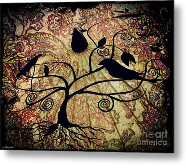 Umbrella Birds Metal Print