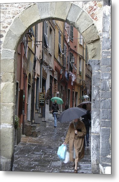Umbrella Day Portovenere Italy Metal Print